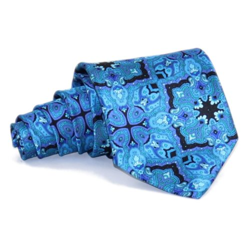 Sartorial blue and black silk necktie 419355-06