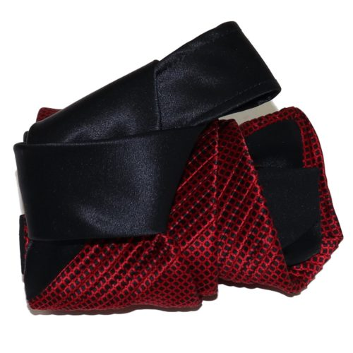 Sartorial pleated silk tie black and red 919002-005