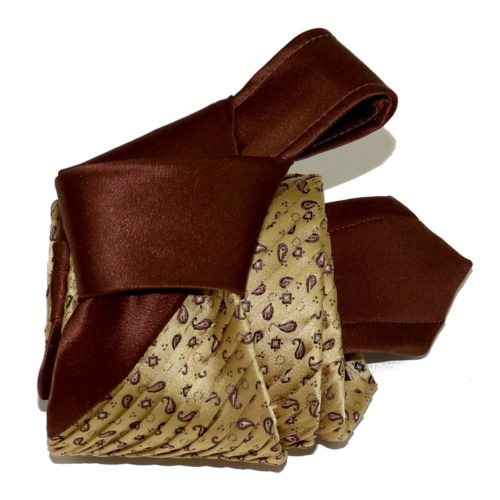 Sartorial pleated silk tie beige and brown 919003-001