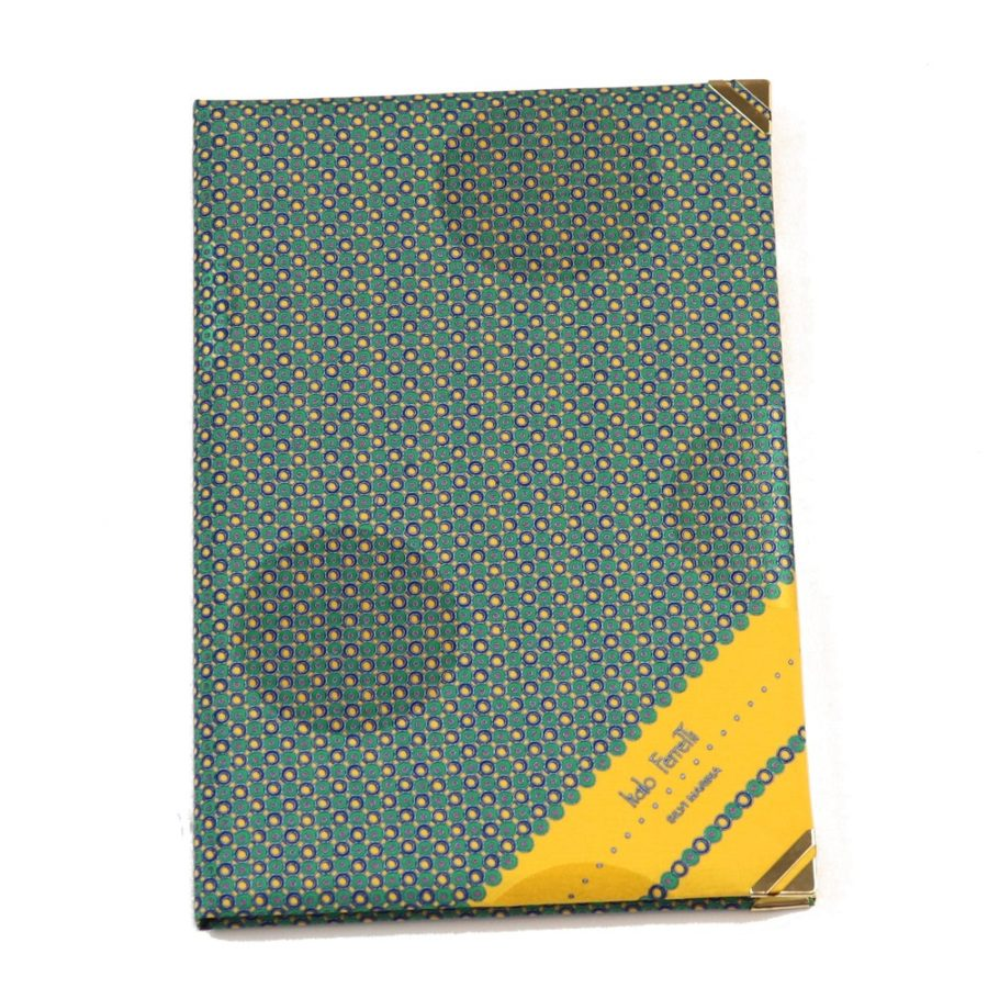 Silk Whish List Diary - Green and Yellow polka dots pattern