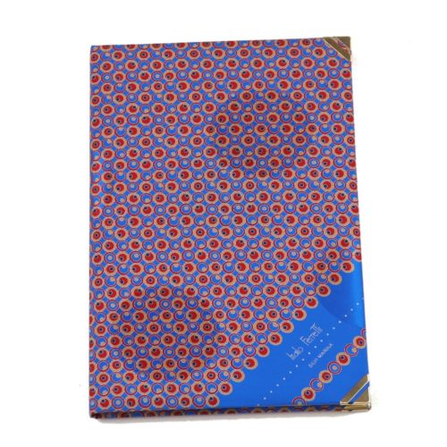 Silk Whish List Diary - Blue, red and gold polka dots pattern