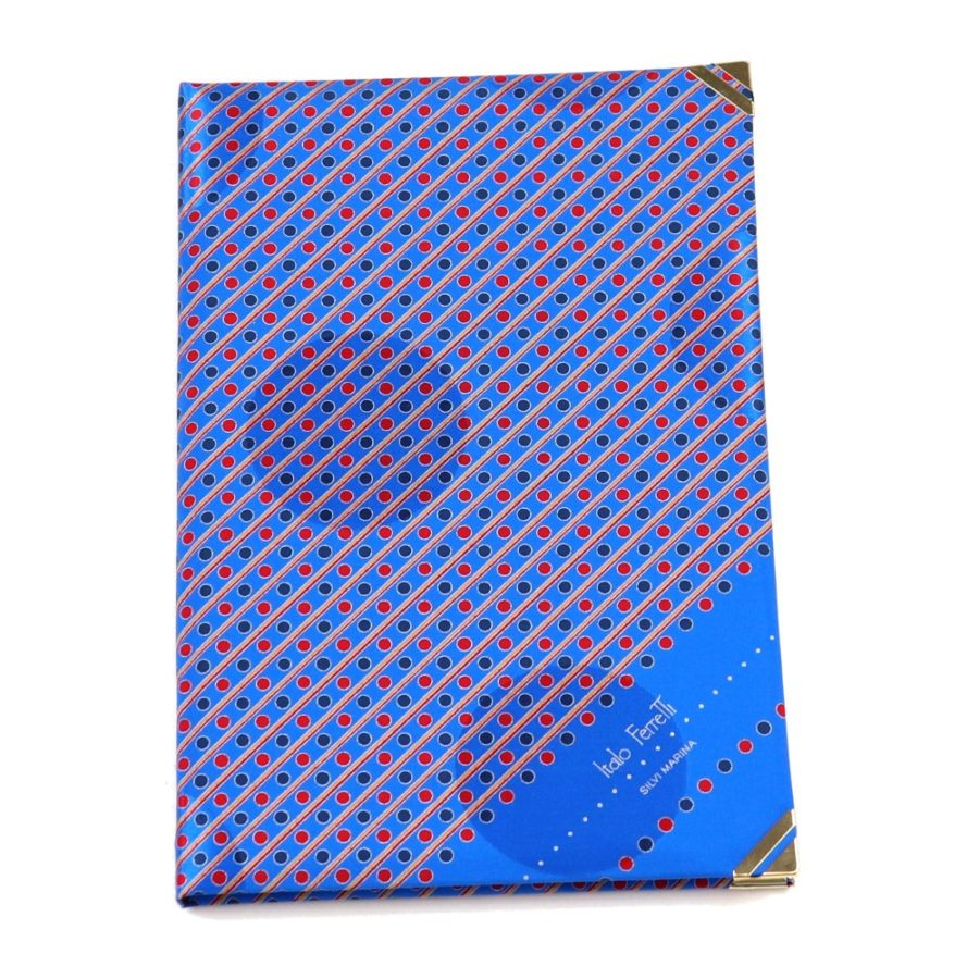 Silk Whish List Diary - Blue and red stripes and polka dots pattern