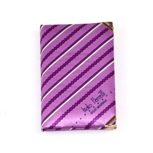 Silk mini Whish List Diary - Lilac and purple stripes and polka dots pattern