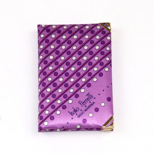 Silk mini Whish List Diary - White and purple stripes and polka dots pattern