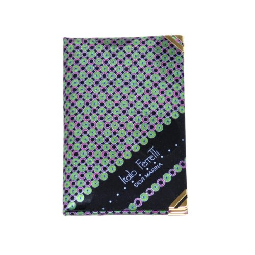 Silk mini Whish List Diary - Black, green and pink polka dots pattern