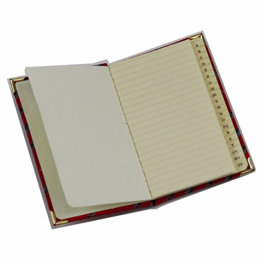 Silk mini Whish List Diary - Red and black stripes and polka dots pattern