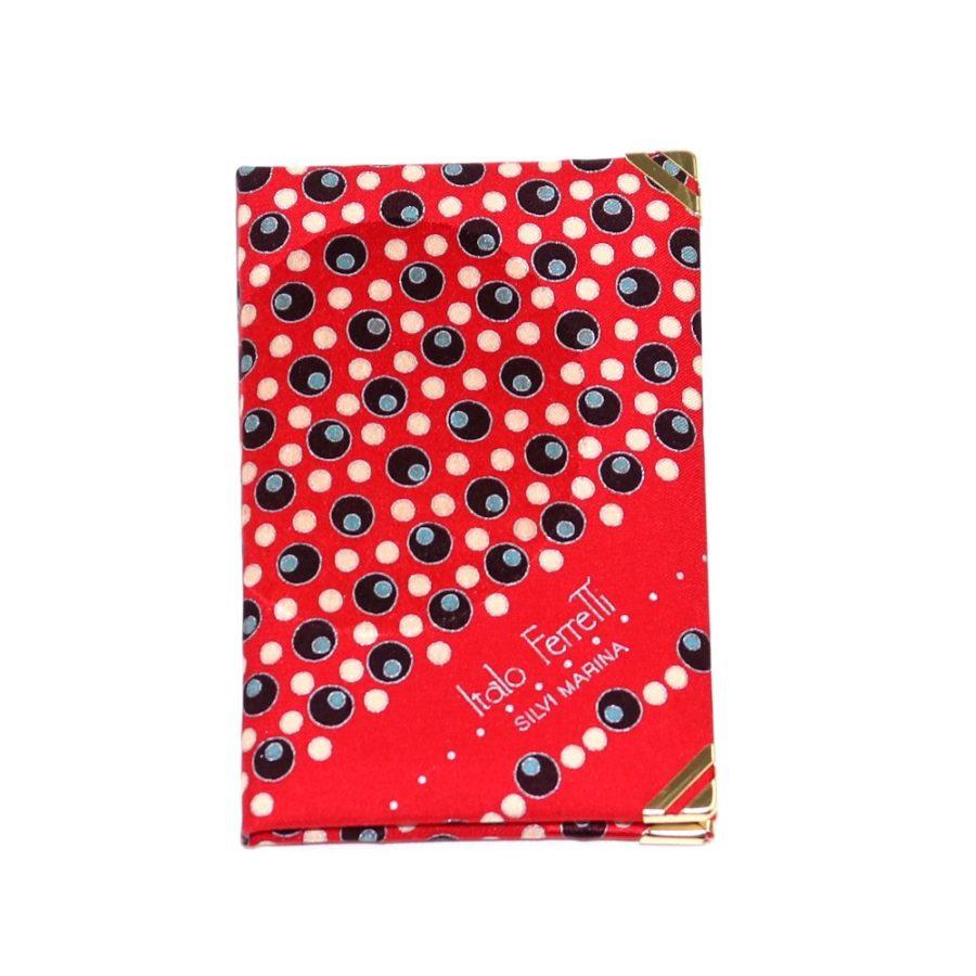 Silk mini Whish List Diary - Red, beige and black polka dots pattern