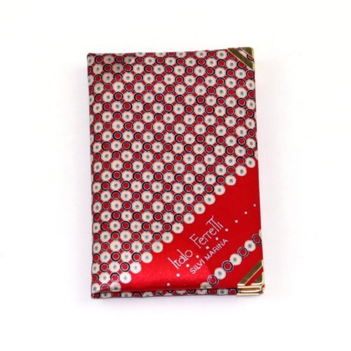 Silk mini Whish List Diary - Red and beige polka dots pattern