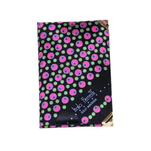 Silk mini Whish List Diary - Black, fushia, fluo green polka dots pattern