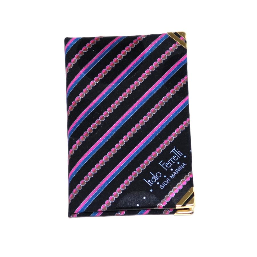 Silk mini Whish List Diary - Black and pink stripes and polka dots pattern