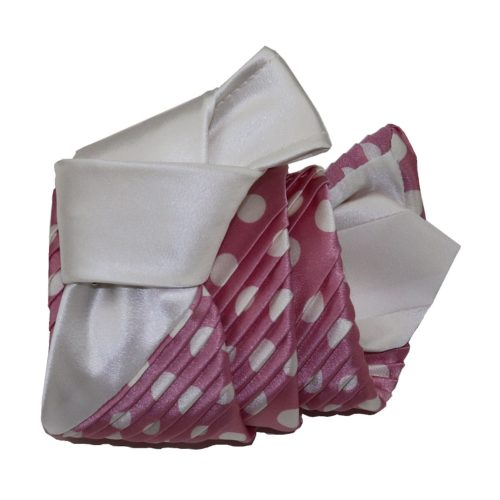 Sartorial pleated silk tie pink and white polka dots 919006-001