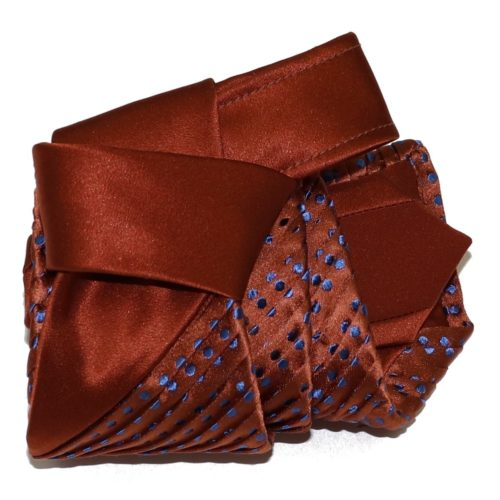 Sartorial pleated silk tie brown and blue polka dots 919008-001