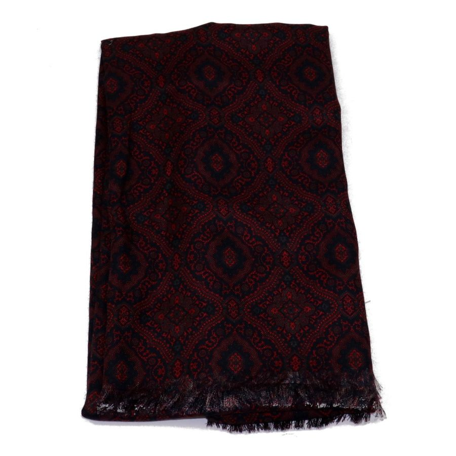 Sartorial fringed scarf, cashmere and silk, blue and black, made in Italy