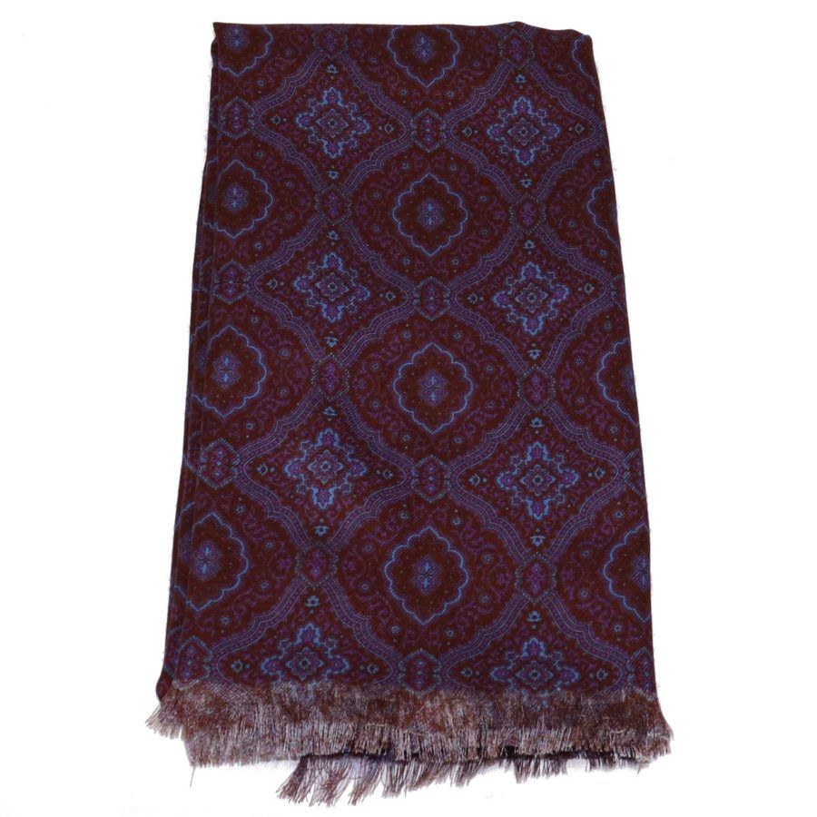 Sartorial fringed scarf, cashmere and silk, blue and orange, made in Italy