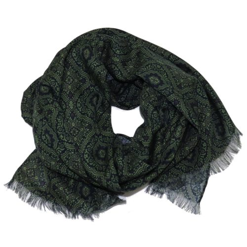 Sartorial fringed scarf, cashmere and silk, green and black, made in Italy