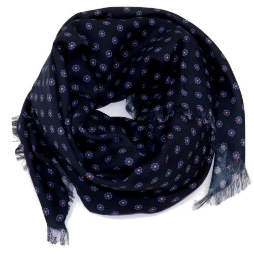 Sartorial fringed scarf, cashmere and silk, black and royal blue, made in Italy