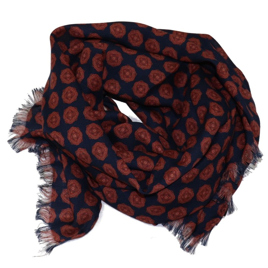 Sartorial fringed scarf, cashmere and silk, brown and blue, made in Italy