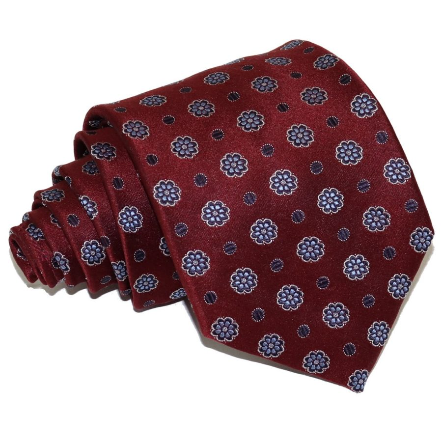 Sartorial woven silk necktie deep red and blue 419627-01