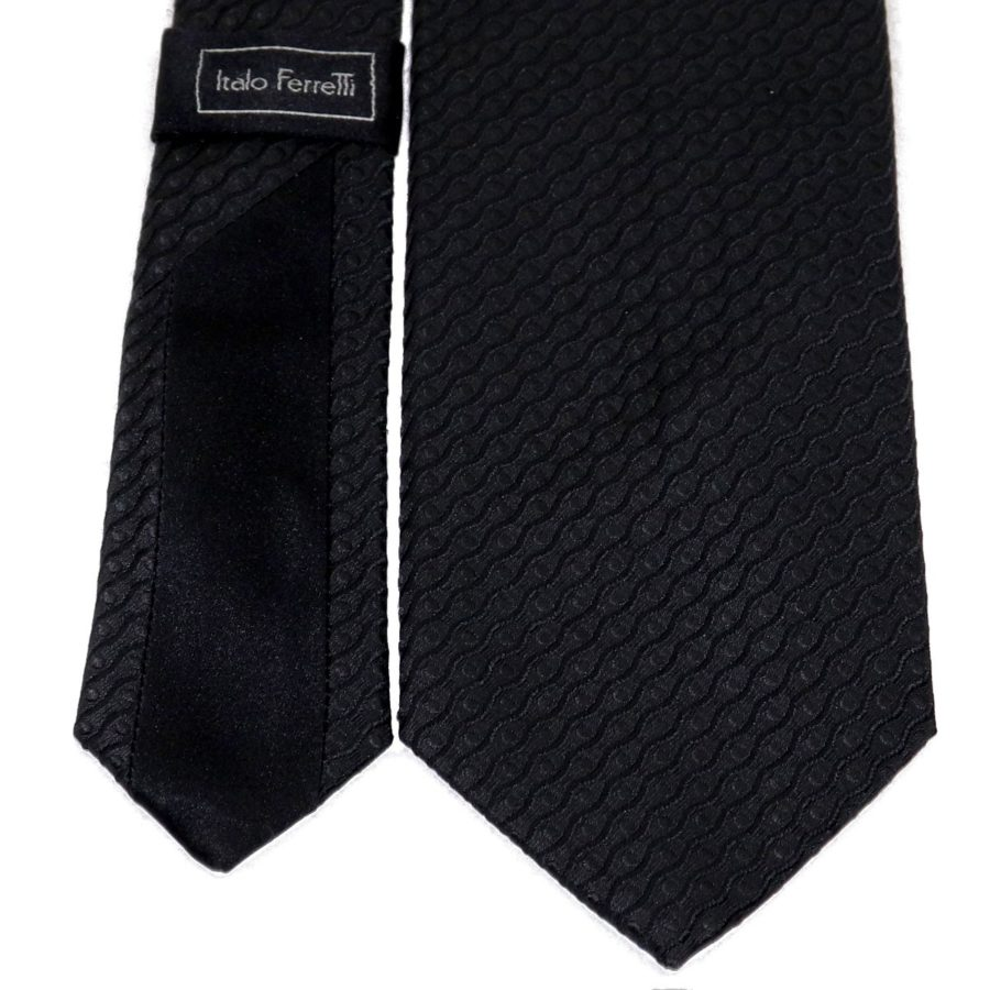 Sartorial woven silk necktie black relief pattern 419636-04