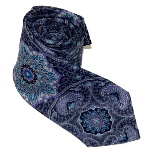 Tailored cashmere tie, multicolor, mandala print 919708-01