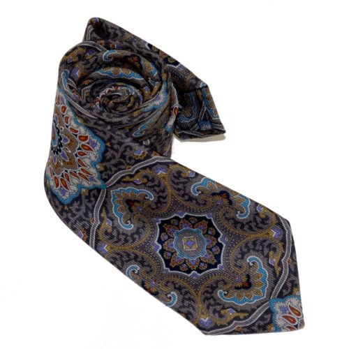 Tailored cashmere tie, multicolor, mandala print 919709-01
