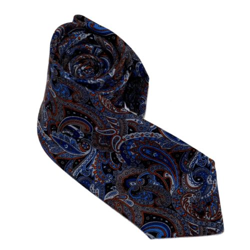 Tailored cashmere tie blue batik/paisley print 919704-01