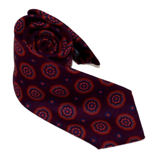 Tailored cashmere tie, deep red paisley print 919706-01