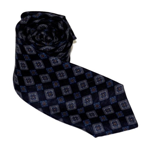 Tailored cashmere tie, blue fantasy print 919705-01