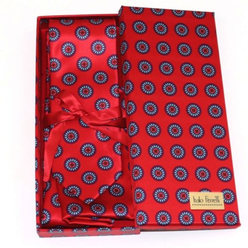 Red shades fantasy patterned sartorial silk tie and pocket square set, matching silk box included 416084-7