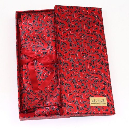 Red shades fantasy patterned sartorial silk tie and pocket square set, matching silk box included 414048-01