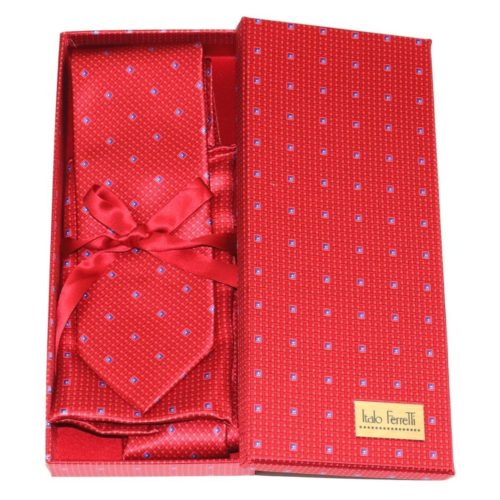 Red shades fantasy patterned sartorial silk tie and pocket square set, matching silk box included 418238-02
