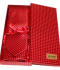 Red shades fantasy patterned sartorial silk tie and pocket square set, matching silk box included 415116-02