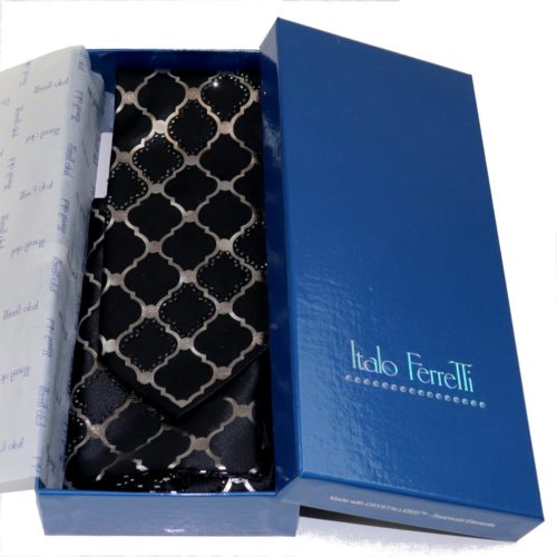 Black and metallic printed web pattern sartorial silk Tie and Pocket square Set with Swarovski rhinestones 18007-12 S058