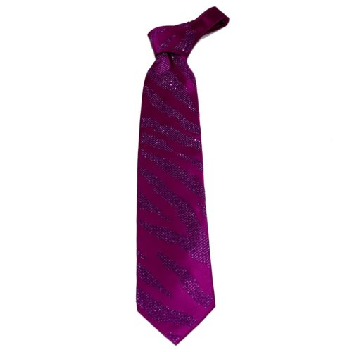 Purple silk sartorial tie with violet Swarovski crystals S039 T006