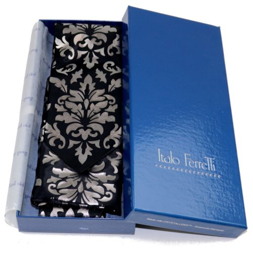Black and metallic printed pattern sartorial silk Tie and Pocket square Set 18007-12 S059