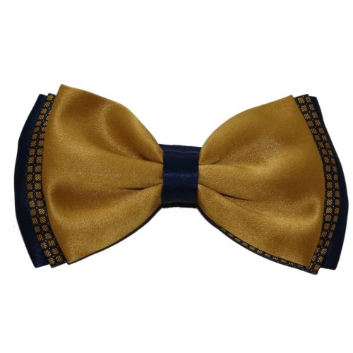 Double color black silk bow tie with double knot 18007-12 Mod. D104