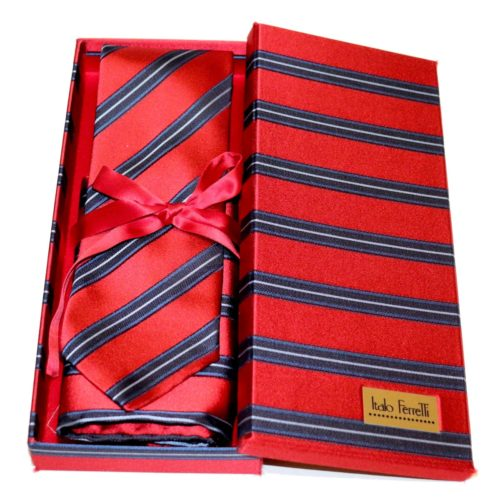 Red shades fantasy patterned sartorial silk tie and pocket square set, matching silk box included 417606-01
