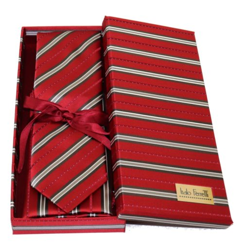Red regimental sartorial silk tie and pocket square set, matching silk box included 412636-01