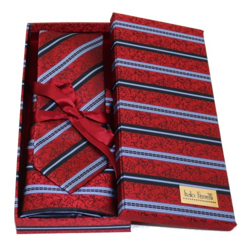Red regimental sartorial silk tie and pocket square set, matching silk box included 412633-02