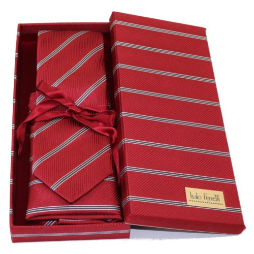 Red regimental sartorial silk tie and pocket square set, matching silk box included 417606-01