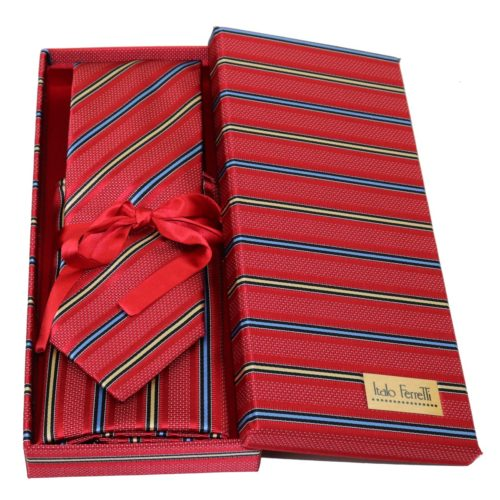 Red regimental sartorial silk tie and pocket square set, matching silk box included 413630-01