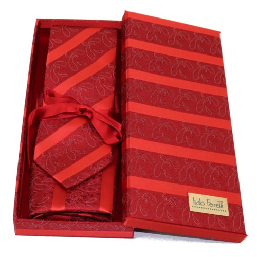 Red regimental sartorial silk tie and pocket square set, matching silk box included 413643-03