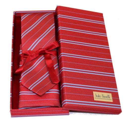 Red regimental sartorial silk tie and pocket square set, matching silk box included 418512-02