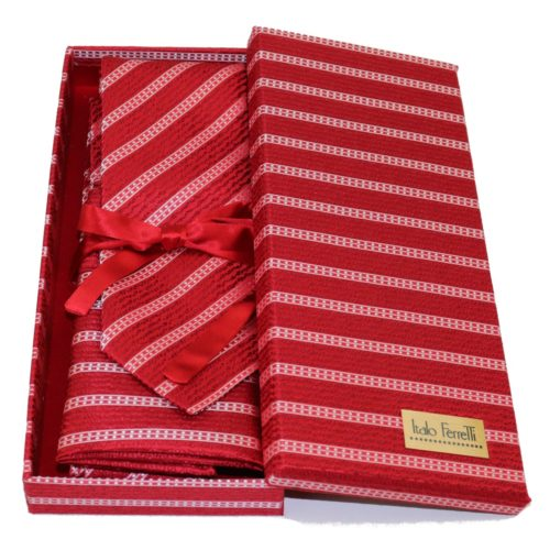 Red regimental sartorial silk tie and pocket square set, matching silk box included 411656-04