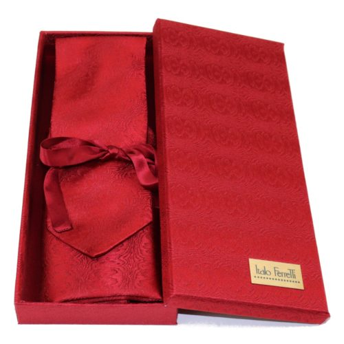 Red regimental sartorial silk tie and pocket square set, matching silk box included 418502-02