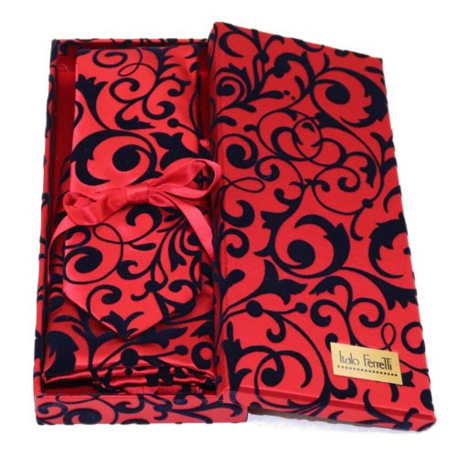 Red regimental sartorial silk tie and pocket square set, matching silk box included 413651-03