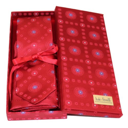 Red sartorial silk tie and pocket square set, matching silk box included 414550-02
