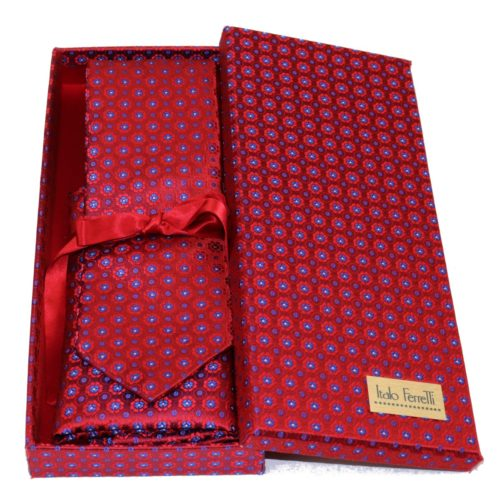 Red sartorial silk tie and pocket square set, matching silk box included 418547-01