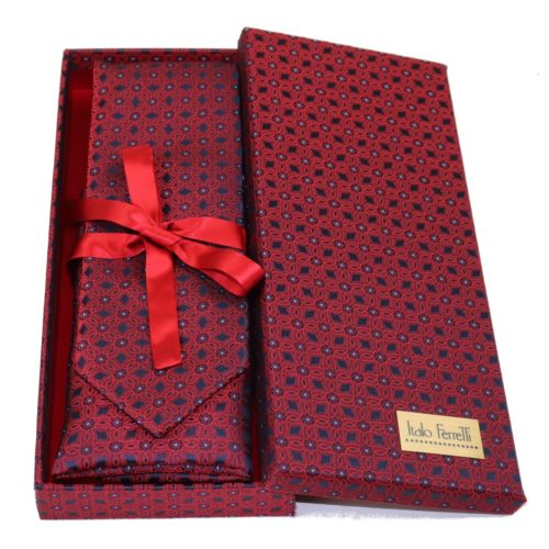 Red sartorial silk tie and pocket square set, matching silk box included 417628-05