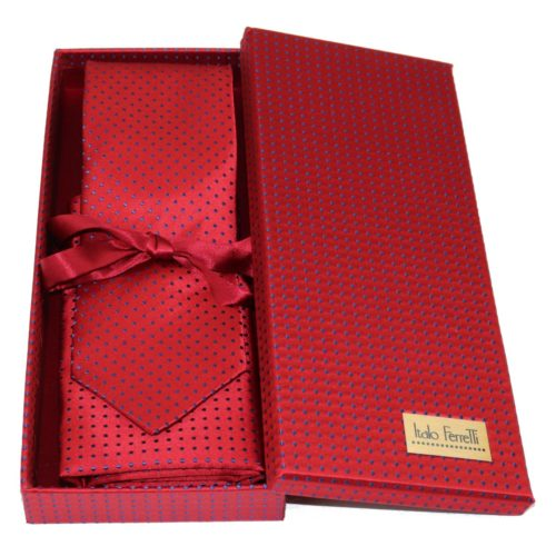 Red sartorial silk tie and pocket square set, matching silk box included 413638-05
